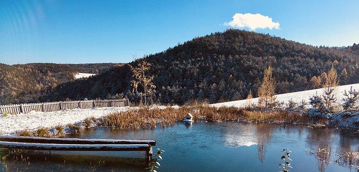 Winter, Pond, Reflection, Mirroring, Landscape, Rest
