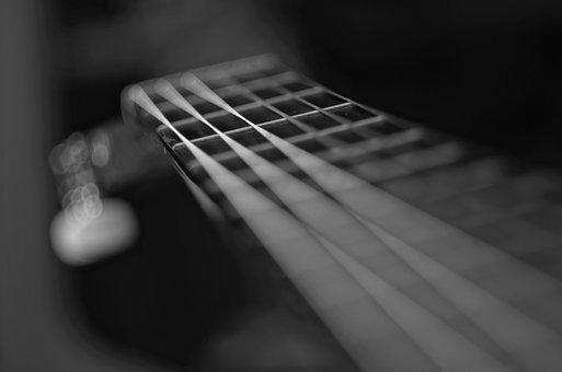 Music, Guitar, Instrument, Acoustic, Sound, Texture, Bw