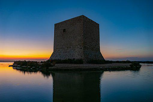 Sunset, Water, Tamarit Tower, Watch Tower, Reflection