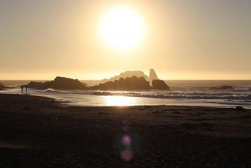 Sunset, Beach, Silhouette, Rock Formation, Coast