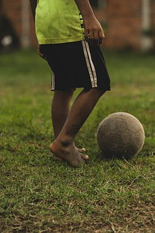 Kid, Barefoot, Football, Field, Ball, Playing, Play