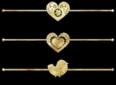 Dividers, Gold Foil, Heart, Bird, Gold Foil Dividers