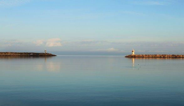Lighthouse, Beach, Port, Sea, Breakwaters, Ocean