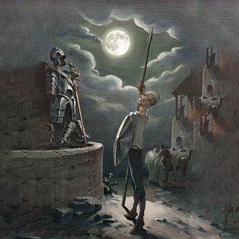 Don Quixote, Armor, Cartoon, Knight, Moon, Parody