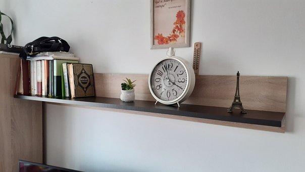 Books, Clock, Shelf, Frame, Decoration, Interior