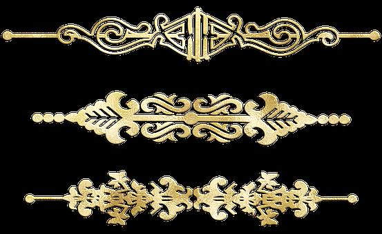 Dividers, Gold Foil, Ornamental, Flourish