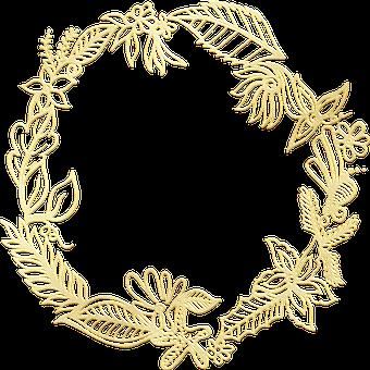 Gold Foil, Wreath, Frame, Gold Foil Wreath, Floral