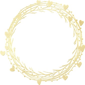 Gold Foil, Wreath, Frame, Gold Foil Wreath, Hearts