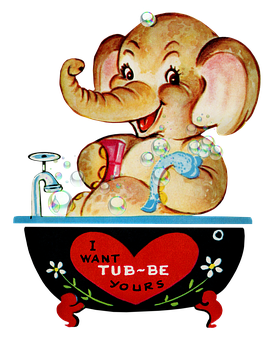 Vintage Valentine, Elephant, Bath, Valentine, Heart