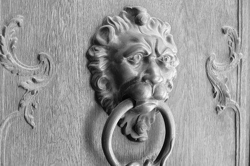 Door Knocker, Lion, Door, Metal, Antique, Ring