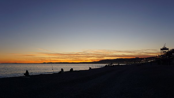 Sunset, Beach, Silhouette, People, Fishing, Leisure