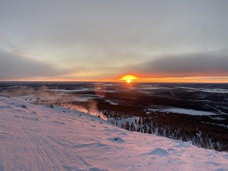 Landscape, Sun, Sunrise, Light, Sky, Winter, Nature