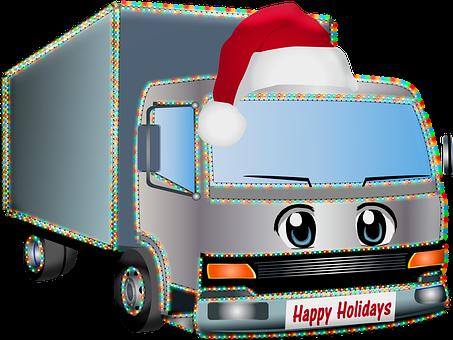 Lorry, Truck, Christmas, Santa Hat, Holiday, Advent