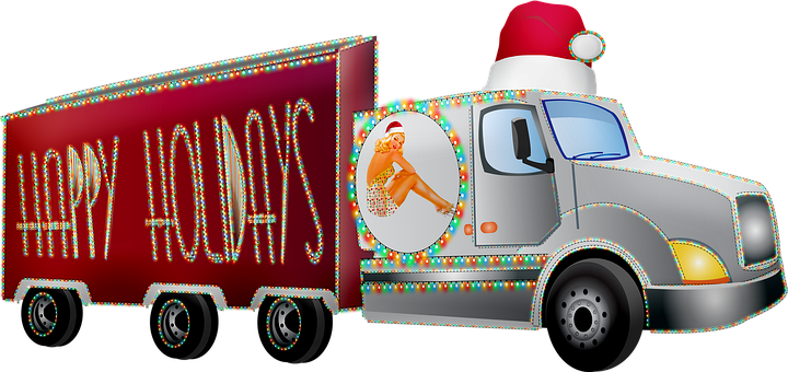 Lorry, Truck, Christmas, Happy Holidays, Holiday