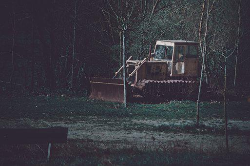 Excavators, Site, Old, Abandoned, Shovel