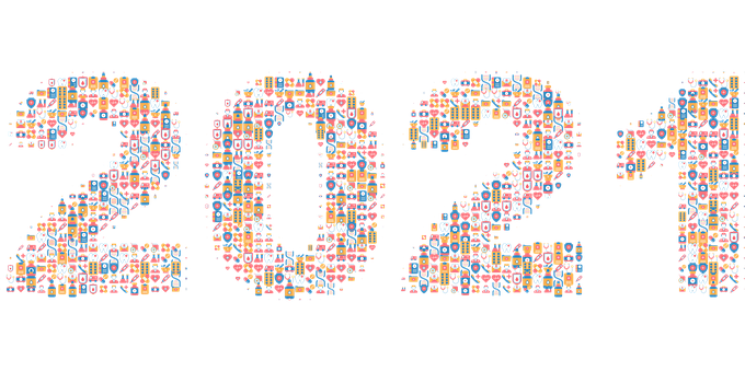 New Year, Calendar, 2021, Typography, Medical, Icons