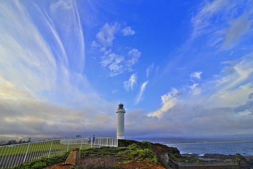Lighthouse, Rocks, Coast, Landscape, Sunset, Coastline
