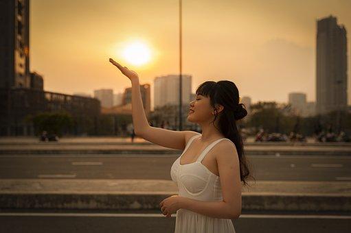 Sunset, Woman, Beauty, Sun, Sunlight, Girl, Female