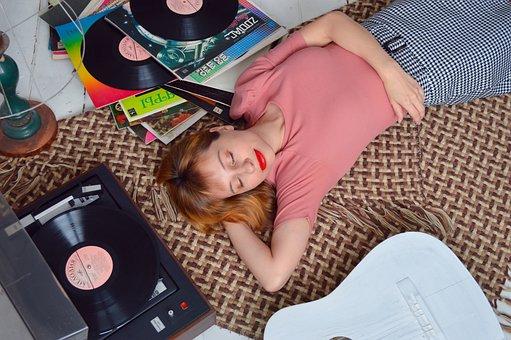 Woman, Turntable, Vintage, Guitar, Music, Sound