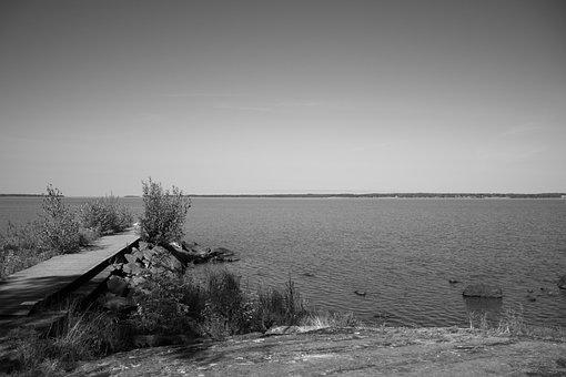 Lake, Water, Nature, Black And White, Himmel, Bridge