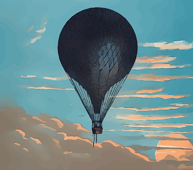 Vintage, Hot Air Balloon, Steampunk, Sky, Clouds, Old