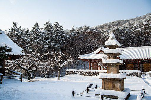 Naeso Temple, Winter, Korea, Temple, Snowscape