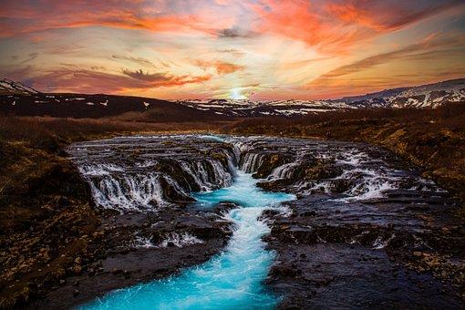 Iceland, Waterfalls, Sunset, Mountains, Cascading