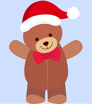 Teddy Bear, Santa Hat, Christmas, Xmas, Toy