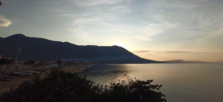 Mountain, Beach, Sunset, Coast, Coastline, Seashore