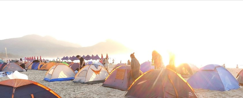 Beach, Camping, Tents, People, Sand, Sandy Beach