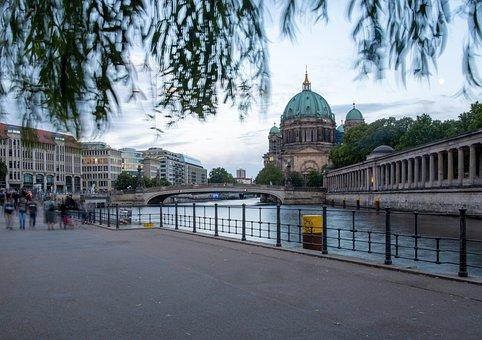 River, Bridge, Building, Dom, Berlin, Capital, Germany