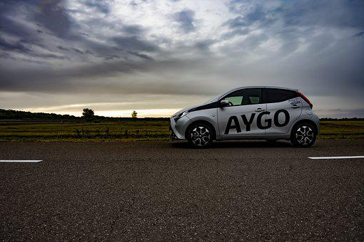 Car, Vehicle, Wheels, Road, Highway, Aygo, Toyota