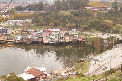 Houses, Lake, Village, Coast, Landscape, Chile