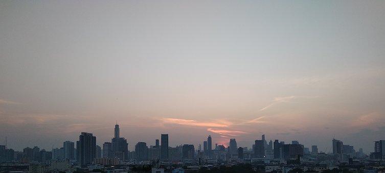 City, Skyline, Sunset, Sky, Cityscape, Buildings, Urban
