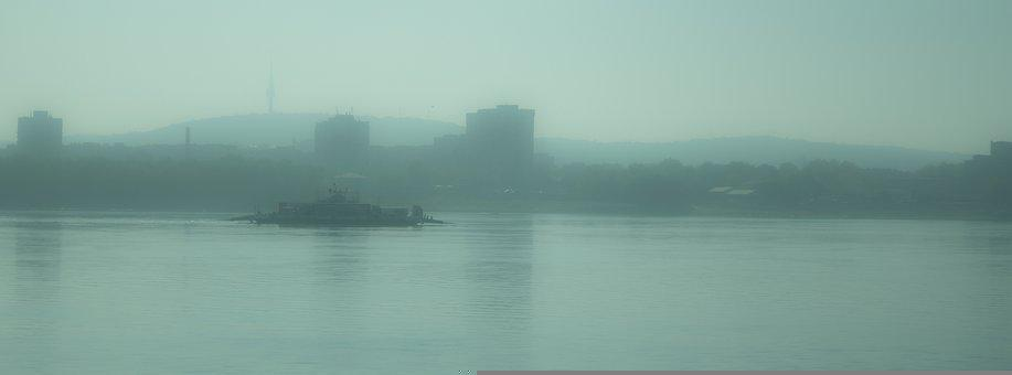 Lake, Fog, Mist, Shore, Coast, Danube