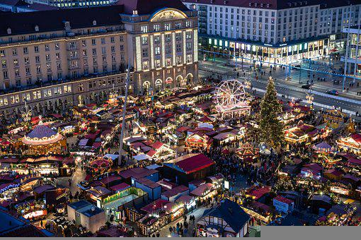 Dresden, Christmas Market, City, Lights, Market, Square