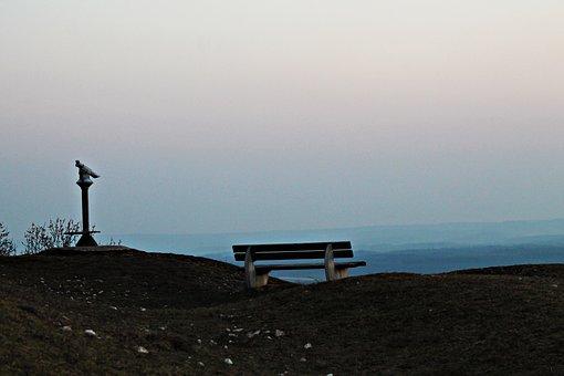 Binoculars, Bench, Hill, Mountain, Hiking, Nature, Dusk