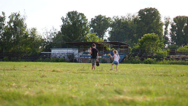 Kids, Field, Summer, Nature, Family, Green, Stadium