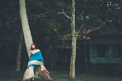Woman, Model, Saree, Female, Trees, House, Costume