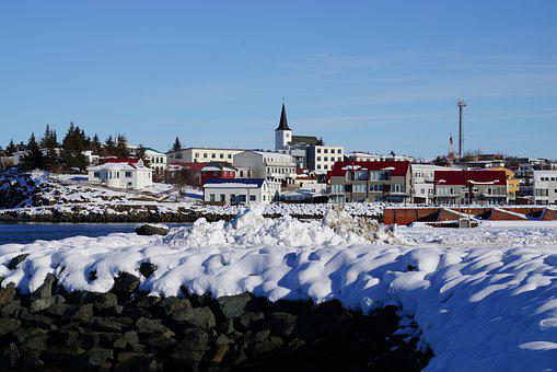 Winter, Town, Iceland, Townscape, Snow
