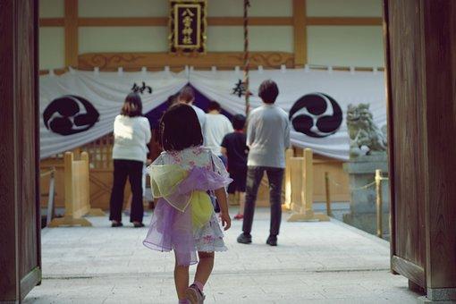 Kid, Child, Girl, Entrance, Gate, Shrine, Festival