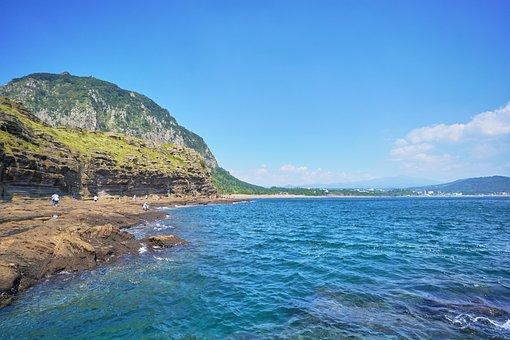 Sea, Waves, Rocks, Cliff, Jeju, Korea
