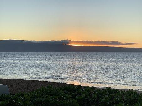 Sunset, Mountains, Lake, Silhouette, Bank, Coast