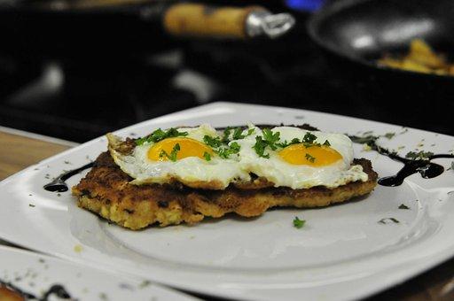 Schnitzel, Egg, Dish, Meal, Food, Dinner, Cuisine