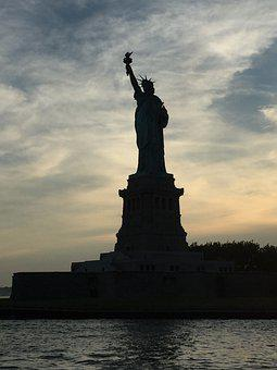 Statue Of Liberty, Silhouette, Liberty Island, Monument