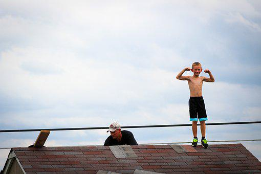 Boy, Dad, Roof, Father, Family, Son, Child, People
