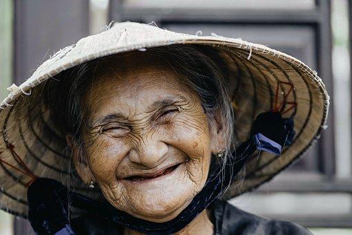 Old Woman, Laugh, Portrait, Wrinkled Skin, Elderly