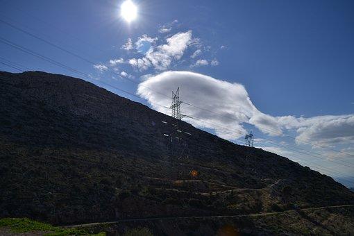 Mountains, Power Lines, Sky, Mountain Range