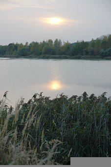 Autumn, Lake, Sunset, Grey, Reflection, Landscape
