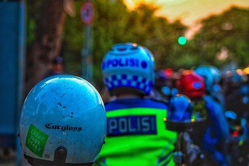 Man, Helmet, Police, Road, Streets, Jammed, Bandung